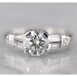 Round Diamond Ring Baguettes White Gold 14K F 1.75
